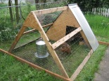An A-frame chicken coop in a Portland, Oregon backyard. Dimensions are 4 feet tall, 8 feet long, and 6 feet across. The metal device in the front is their 3-gallon waterer. Photo courtesy of VanTucky.