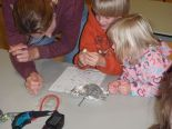 Mother and children dissecting owl pellets at  Belle Isle Home School.