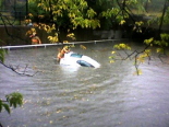 Firefighters rescued a woman who drove into deep water under the Kenilworth underpass Tuesday morning. Photo by Dave Hammond in the Hamilton Spectator on September 28, 2010.